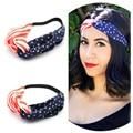 2016 nueva venda de las mujeres de La Bandera Americana cuarto de Julio EE.UU. Diademas Headwrap Turbante Diadema