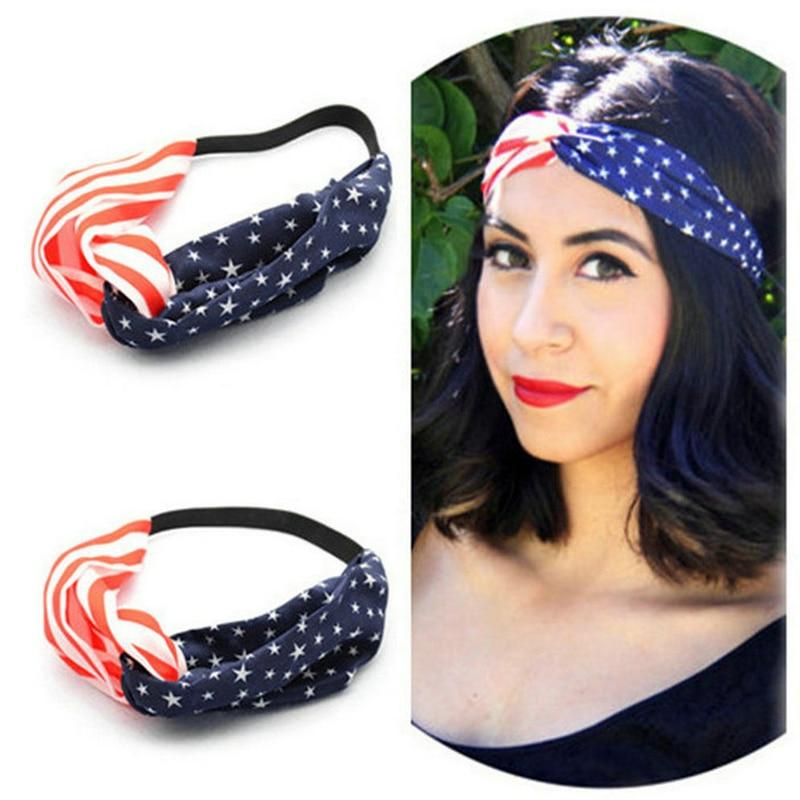 New 2016 women headband American Flag Turban Headband 4th of July USA Headbands Headwrap