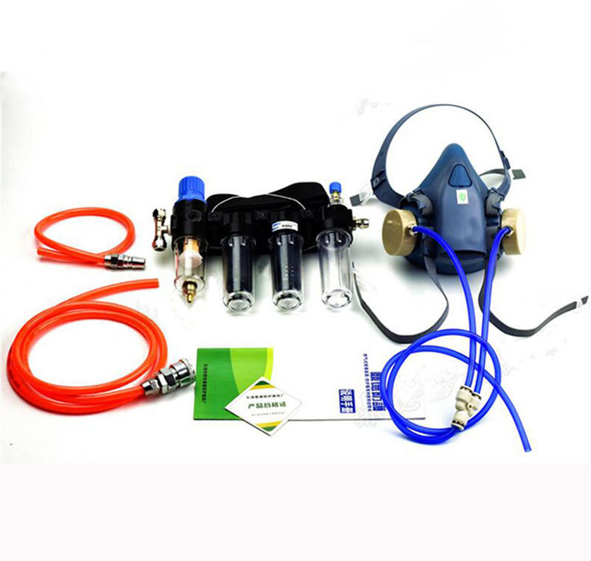 4 In 1 Chemcial Function Supplied Air Fed Painting Spraying Respirator System With 7502Half Face Industry Gas Mask