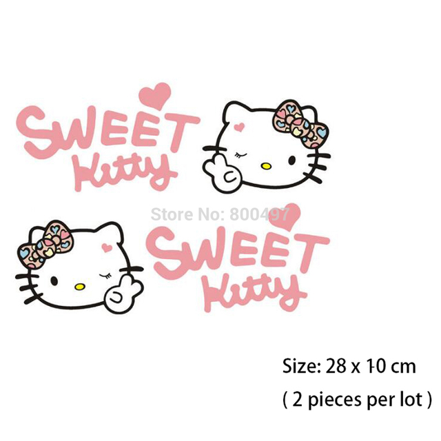 20 X Lovely Hello Kitty Sweet Pink Auto Decal Cartoon Car Eyebrows