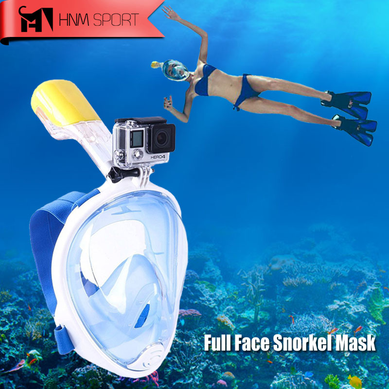 2017 New Scuba Fotocamera GoPro Snorkel Maschera Subacquea Anti Fog Full Face Snorkeling Diving Mask con Anti-skid Anello Snorkel