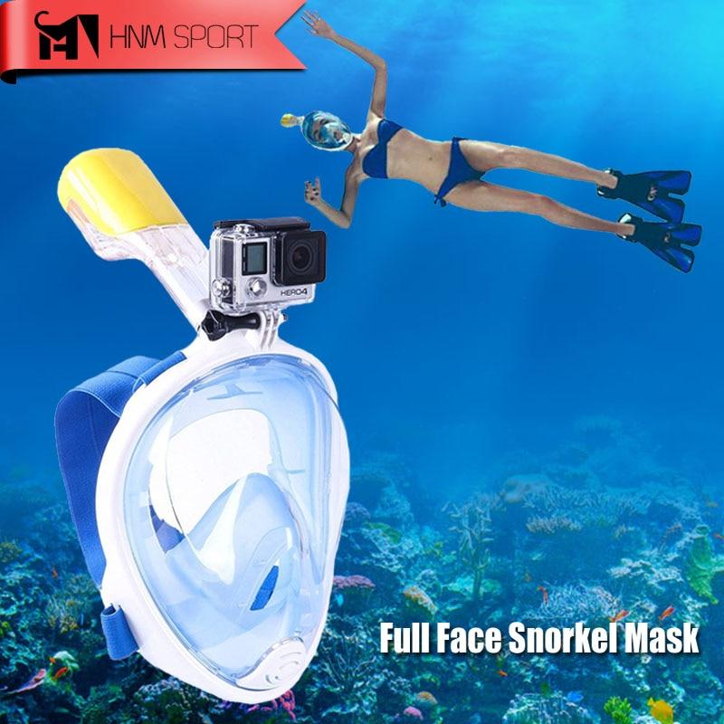 2017 New Scuba Fotocamera GoPro Snorkel Maschera Subacquea Anti Fog Full Face Snorkeling Diving Mask con Anti-skid Anello Snorkel