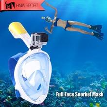 2017 Nueva Cámara GoPro Scuba Snorkel Máscara Submarina Anti Niebla de La Cara Llena Máscara De Buceo Snorkel con Anillo antideslizante Snorkel