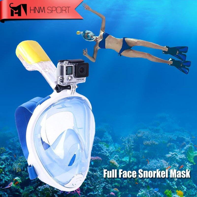 2017 Nuevo buceo cámara GoPro máscara de Snorkel bajo el agua Anti niebla cara completa Snorkel máscara de buceo con Anti-anillo antideslizante snorkel