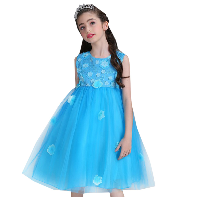 Retail Appliques   Flower   Embroidery Elegant   Girls   Party Ball Gown Knee-Length Beauty   Flower     Girls     Dress     Girls   Prom   Dress   L8805