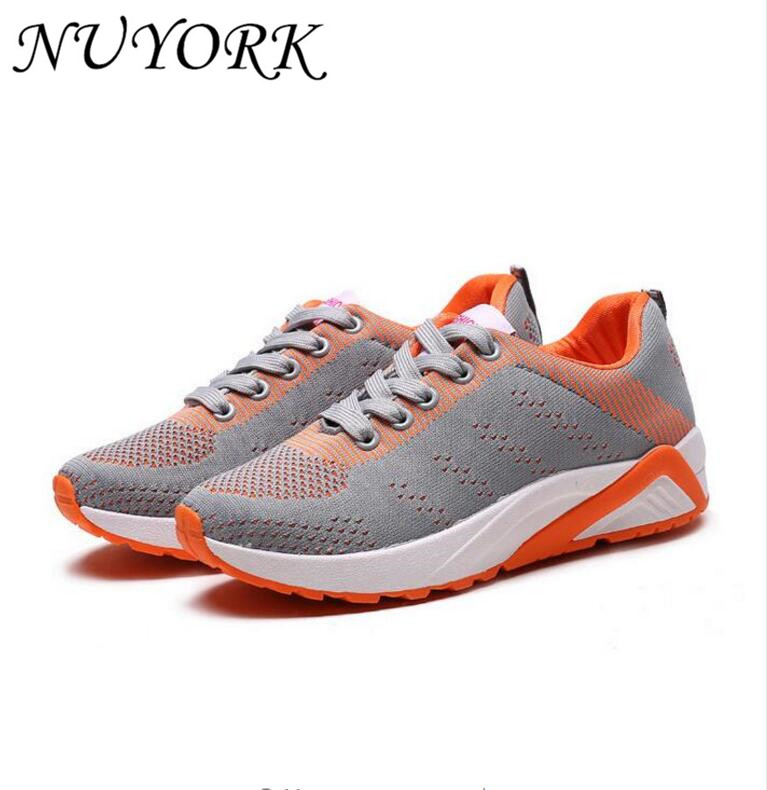 New listing hot sales Summer breathable sports shoes woman Fly line running shoes 706