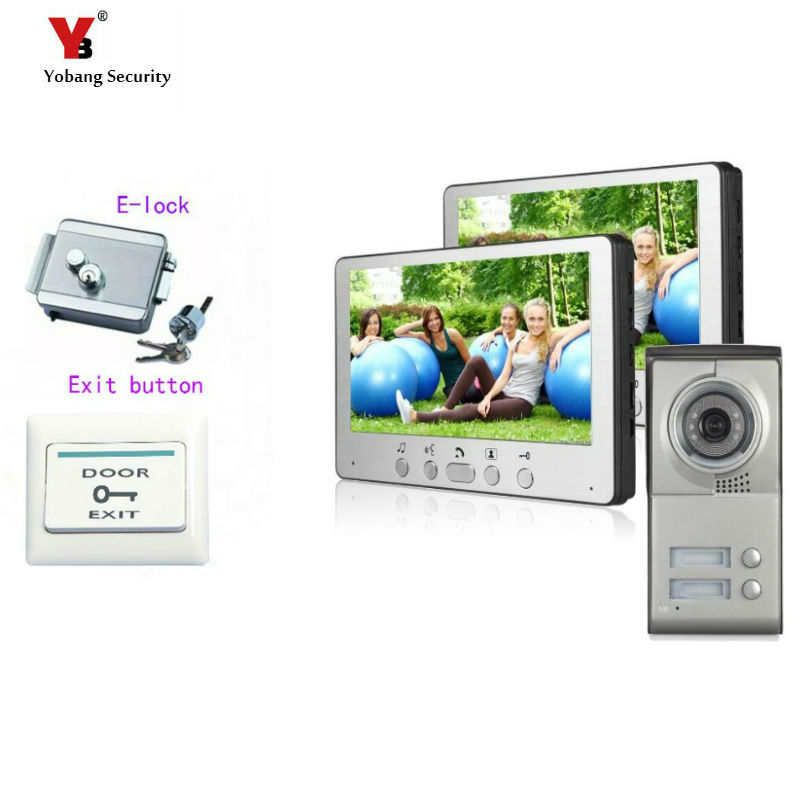 Yobang Security 7 Color Video Door Phone For Villa Apartment Intercom System Access Camera For 2 House Monitor+Electronic lock freeship 10 door intercom security system hands free monitor color tft lcd screen intercom system video door phone for villa