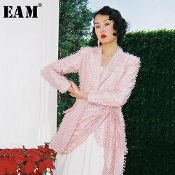 Женская куртка EAM, с длинным рукавом и кисточками, плиссированная куртка с отложным воротником, весна-осень 2020