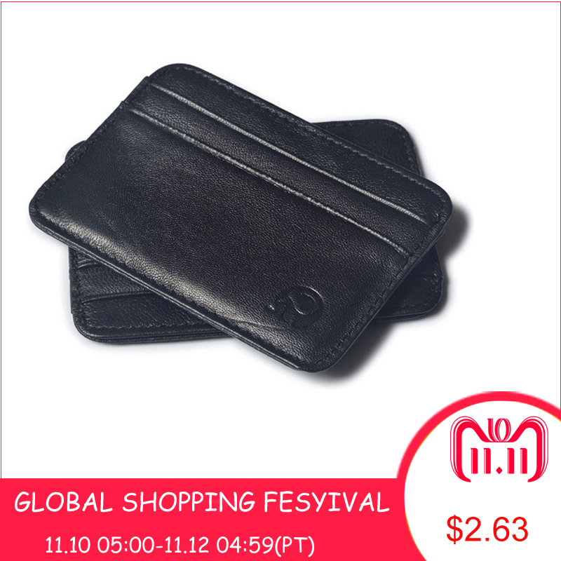 Super Slim Soft Wallet 100% Sheepskin genuine leather mini credit card wallet purse card holders Men Wallet Thin Small ! genuine leather men wallet super thin leather handmade custom name slim purse men short small wallet card purse male tw1641