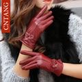 2016 Новый Женщины Зима Теплая Овчины Кожаные Перчатки Лук Личность Мода Высокого Качества Черные Перчатки женская Одежда Рукавицы