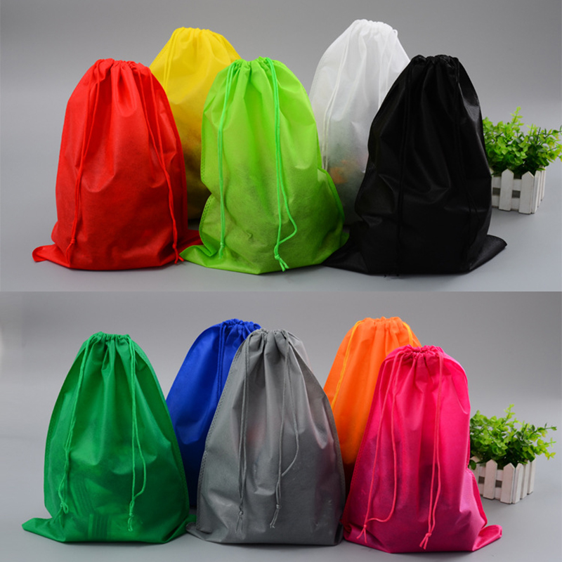 Shoes Bag Pouch Storage Travel Bag Portable Tote Drawstring Bag Organizer Cover Non-Woven Laundry Dustproof Cover Low Price Prom