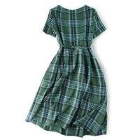 Pure Silk Dress Women Summer Natural Silk Plaid Print Dresses Short Sleeve Vintage Elegant Knee Length Real Silk Holiday Dress