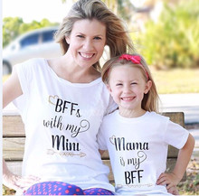 letter mother daughter tshirt family look mommy and me clothes matching outfits mom daughter dress mum and baby dresses clothing(China)