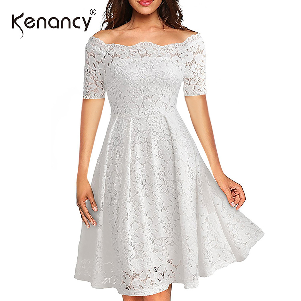 31f396a85ca Kenancy 3XL Plus Size Off Shoulder Retro See thru Floral Lace Dress Knee  length A line Short Sleeves Fit Flare Dress 5 Colors-in Dresses from  Women s ...
