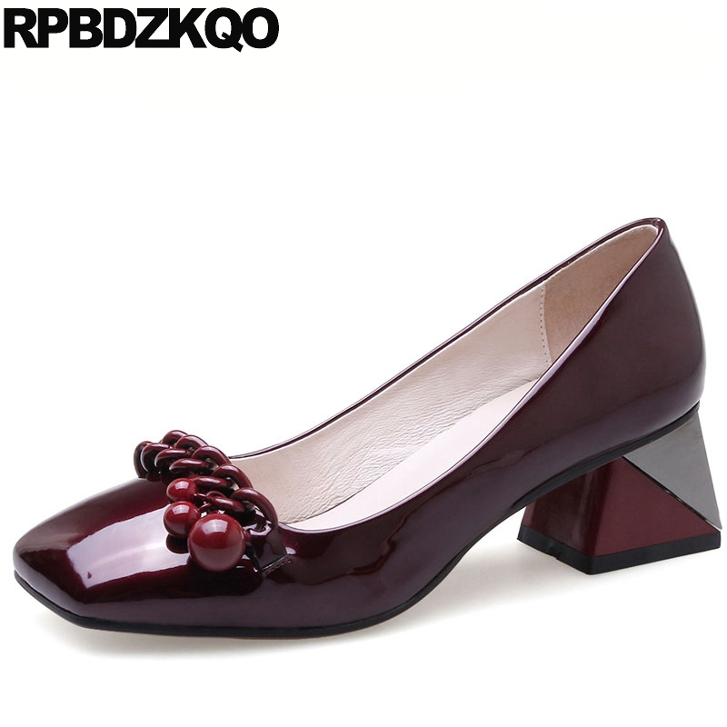 Patent Leather Shoes High Heels Medium Chunky Pink Metal Pearl Size 4 34 Square Toe Women Pumps Low Wine Red Fashion Brand Dress fashion pumps elegant metal size 4 34 women medium square toe female chunky wine red patent leather shoes new 33 modern china