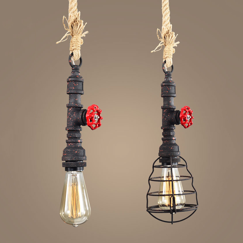 Retro Loft Pipe Pendant Lamp Vintage Rope Light Dining Room Restaurant Aisle Corridor Pub Study Office Bar Cafe Chandelier