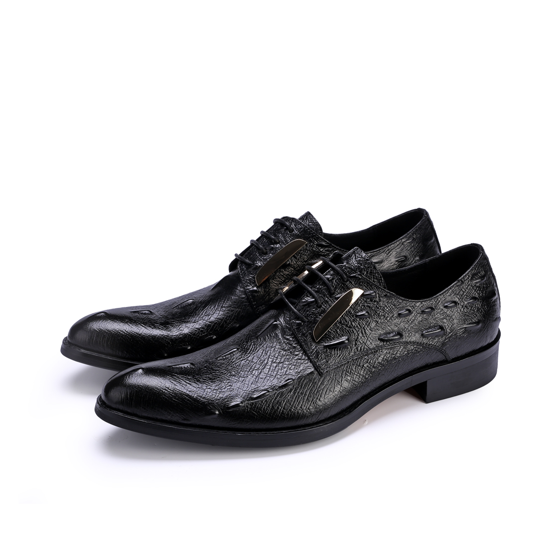Men's Shoes Mens Genuine Leather Gentleman Dress Shoes Sequins Derby Cowhide Leather Embossed Skin Wedding Business Shoes 2018 Formal Shoes