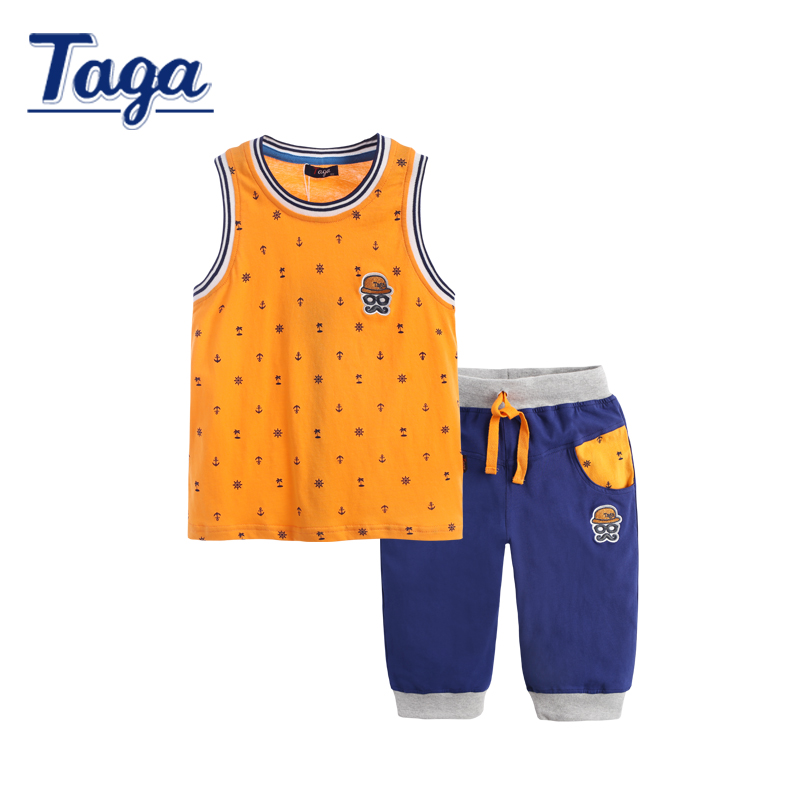 TAGA Baby Boy Clothes Children Vest Shorts Set Summer T Shirts Fashion Printed Boys Tees Clothing Sports Vest Kids Clothing Set 2017 new pattern small children s garment baby twinset summer motion leisure time digital vest shorts basketball suit