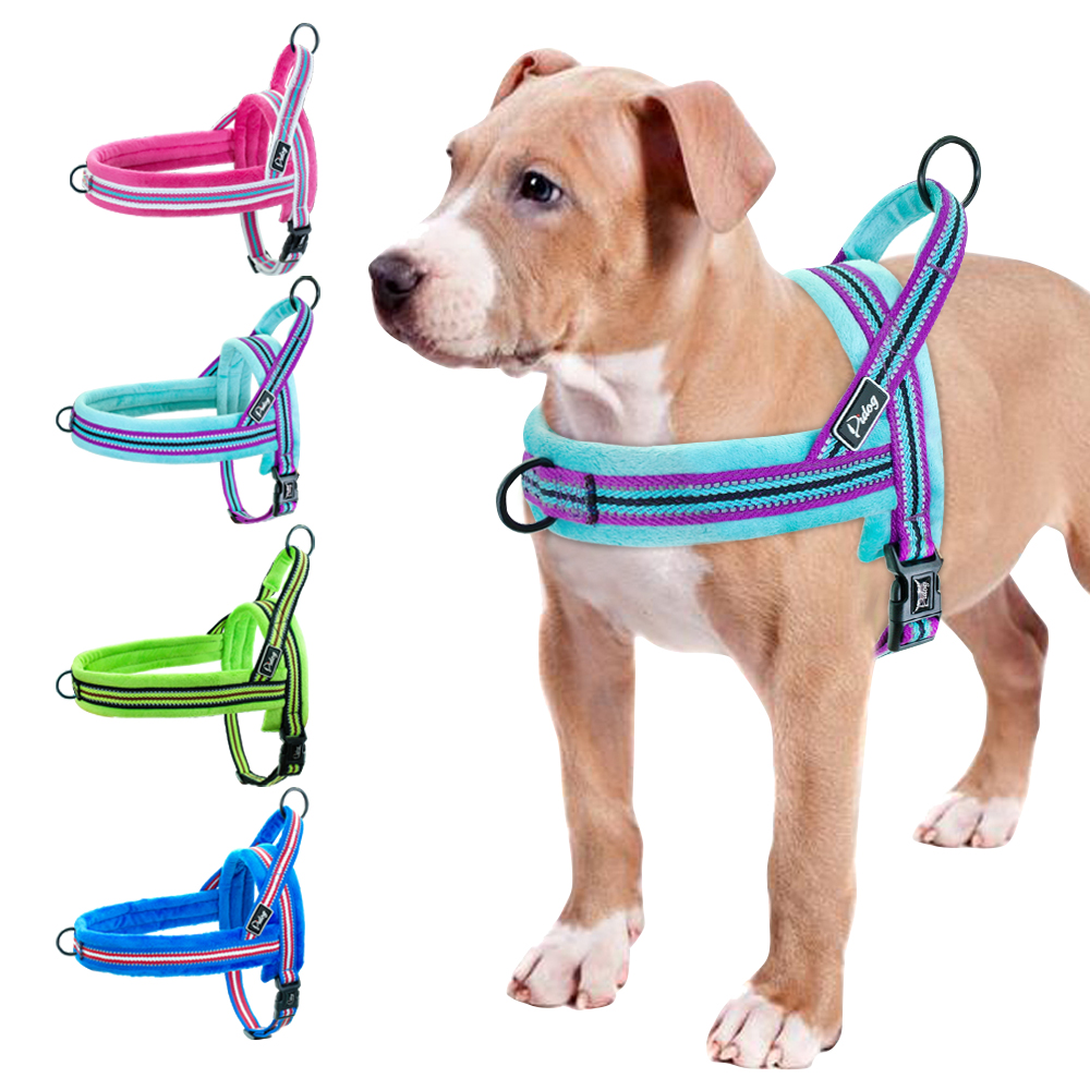 Reflective Nylon Dog Harness No Pull Pet Harness Pitbull Pug Small Large Dogs Harnesses With Quick Control Handle Easy On