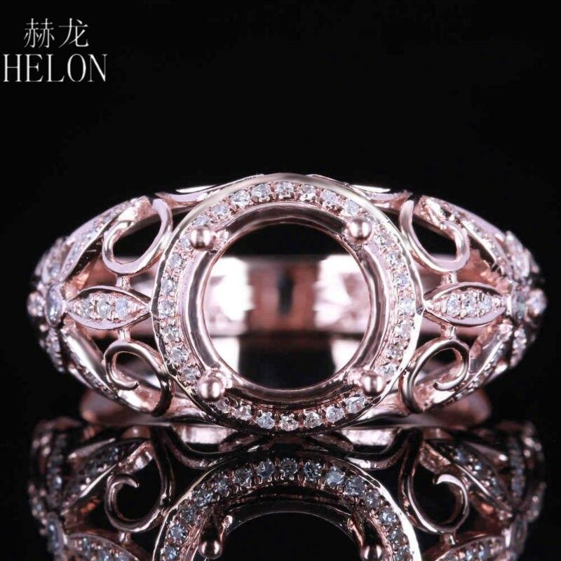 HELON 7 8mm rond coupe solide 14K or Rose Pave naturel diamant Semi monture anneau femmes fiançailles mariage Fine bijoux fête anneau-in Anneaux from Bijoux et Accessoires    1
