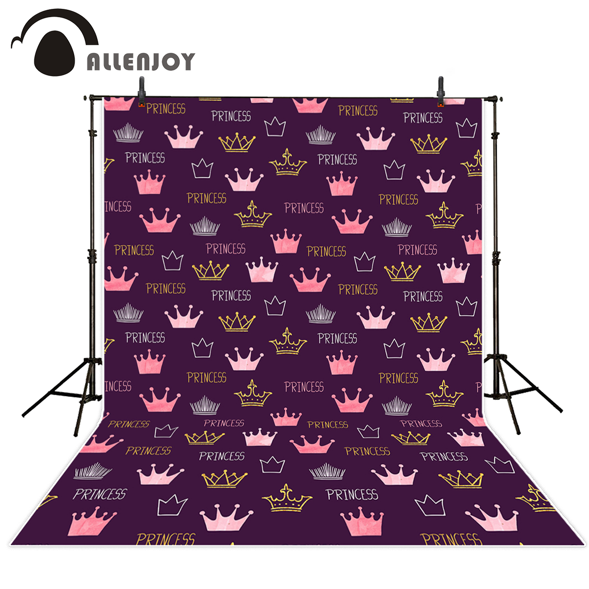 Allenjoy photography backdrop princess purple pink and gloden crown birthday photo background vinyl backgrounds for photo studio fabric birthday party backdrop balloon and paper craft photography backdrop for photo studio photography background s 2132 c