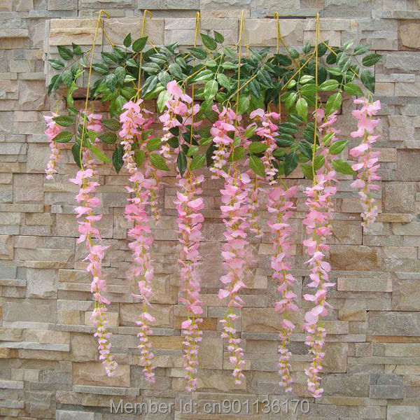 12pcs long string artificial silk wisteria flower vine hanging fake silk wisteria flowers 5 mightylinksfo Choice Image