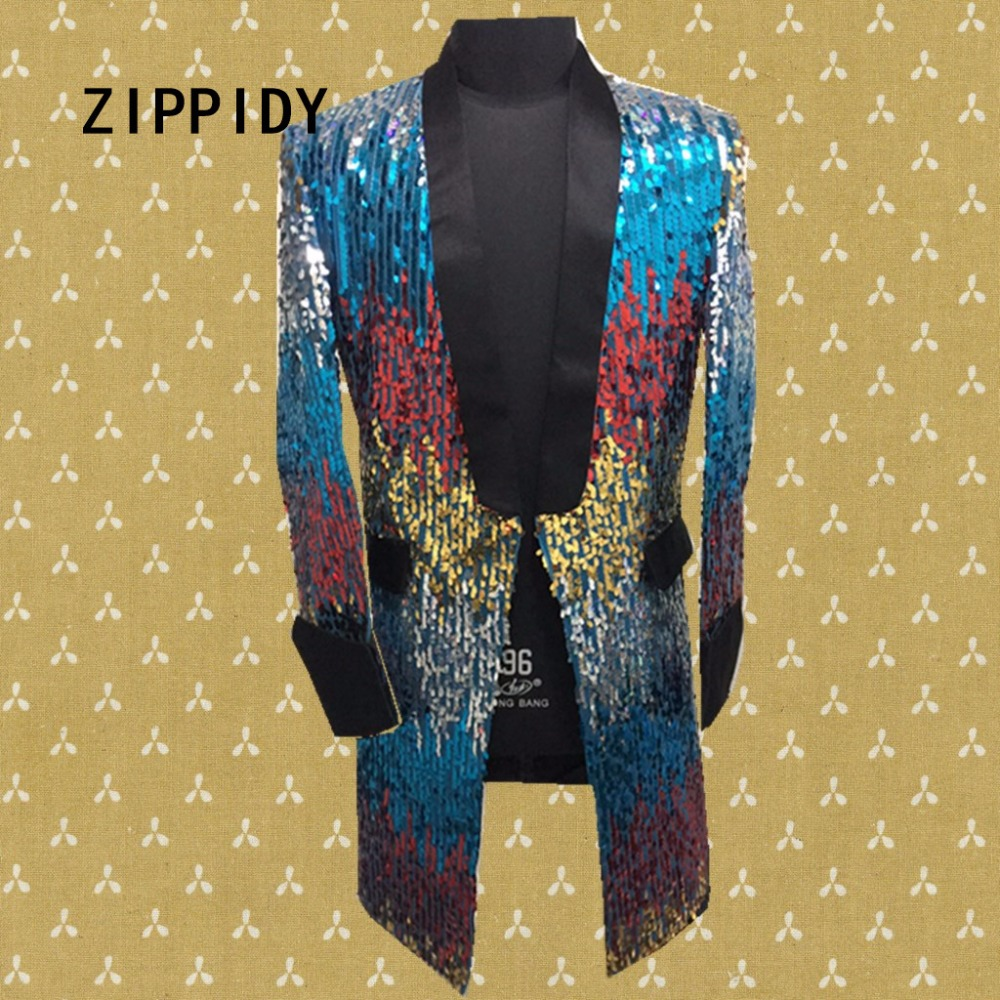 Multicolor Sequins Long Style Men Jacket Costume Nightclub Bar Singer Dancer Luxury Outfit Coat Stage Dj Ds Performance Clothes hot new men and women performance clothing dj singer ds big red faux fur long coat singer stage costumes s 4xl