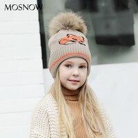 MOSNOW Caps Children Boy Girl Fur Pompom Fashion 2018 Knitted Winter Brand New High Quality Stocking Hat Skullies Bonnet #MZ847