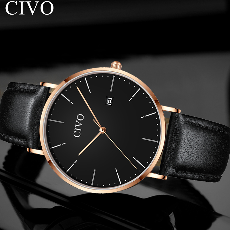 CIVO 2019 New Simple Men Watches Black Quartz Clock Genuine Leather Wristwatch Waterproof Fashion Watch Relogios MasculinoCIVO 2019 New Simple Men Watches Black Quartz Clock Genuine Leather Wristwatch Waterproof Fashion Watch Relogios Masculino