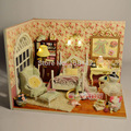 V006 diy handmade wooden miniature dollhouse bedroom led lights 3d house doll free shipping