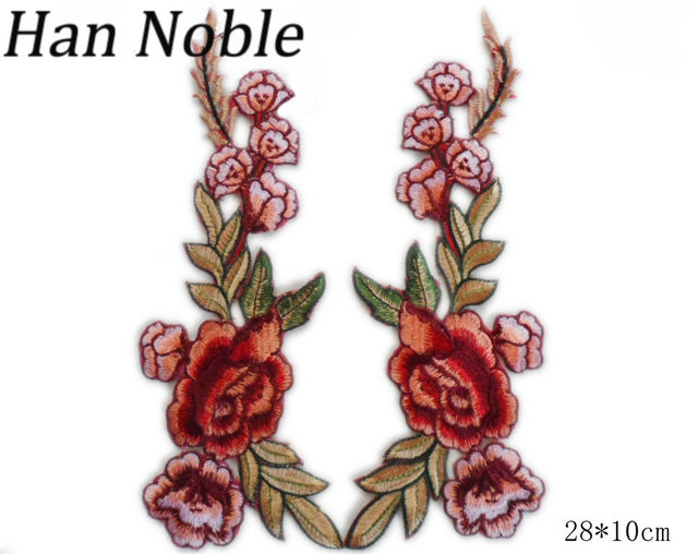 Han Noble Flowers Embroidered Patches Iron on Sewing Stickers for Clothing Applique Diy Accessories Craft Decoration P332 1Pair