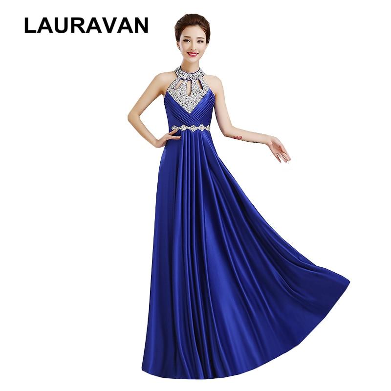 red blue long halter neck satin sleeveless piece Halter neck   bridesmaid     dress   woman festa elegance beautiful   dresses   2019