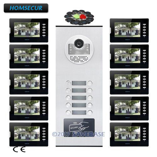 HOMSECUR 7 Video&Audio Multi Apartment Video&Audio Door Entry Kit+Outdoor Monitoring for 10 Families