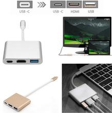 Type C 3.1 Type C to USB 3.0 Converter and HDMI and Type C Female Charger Adapter for Apple Macbook or Google Chromebook Pixel