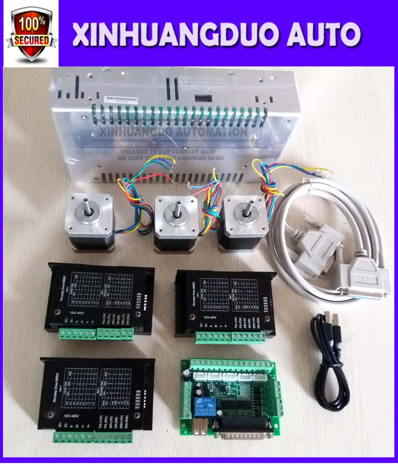 CNC Router Kit 3 Axis, 3pcs TBM6600 4.5A stepper motor driver +3pcs Nema17 0.44NM motor+ 5 axis interface board+ power supply