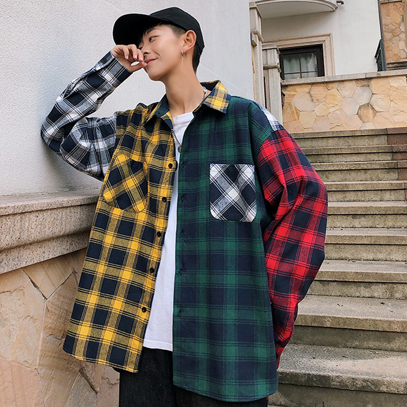 2019 Spring New Shirt Men's Casual Plaid Shirt Top Hip Hop Color Shirt Tide Coat