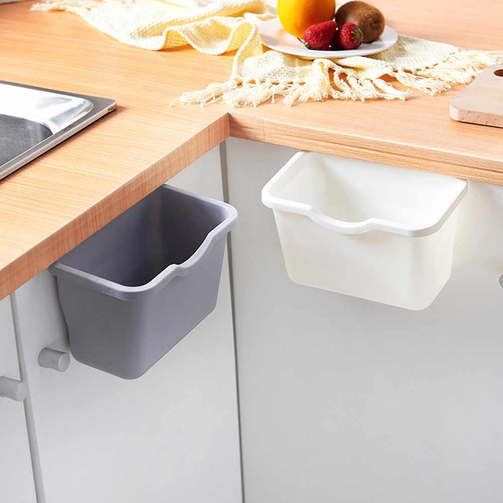 Porta de Armário Da cozinha Pendurado Lixo Lixo Bin Lata de Lixo Plástico Recipiente de Armazenamento Doméstico Cesta de Papel Quente # BZ