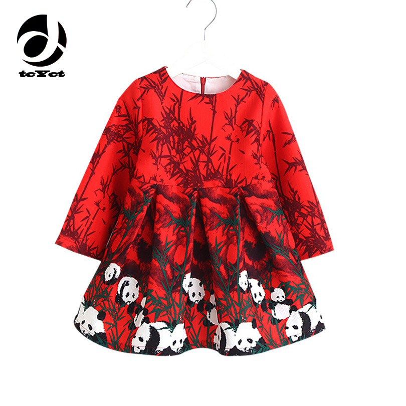 Long Sleeve Dress Girl Christmas Dress 2016 Autumn Winter Floral Print Toddler Girl Dresses Kids Clothes Children Dress with Bag stylish long sleeve pea print girl s dress