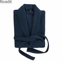 Readit 100% Coton Robes D'hiver Pour Hommes Chaud Peignoirs Long Mens Peignoir Mâle Robe de Chambre Homewear Pijama Mâle Kimono PA2604