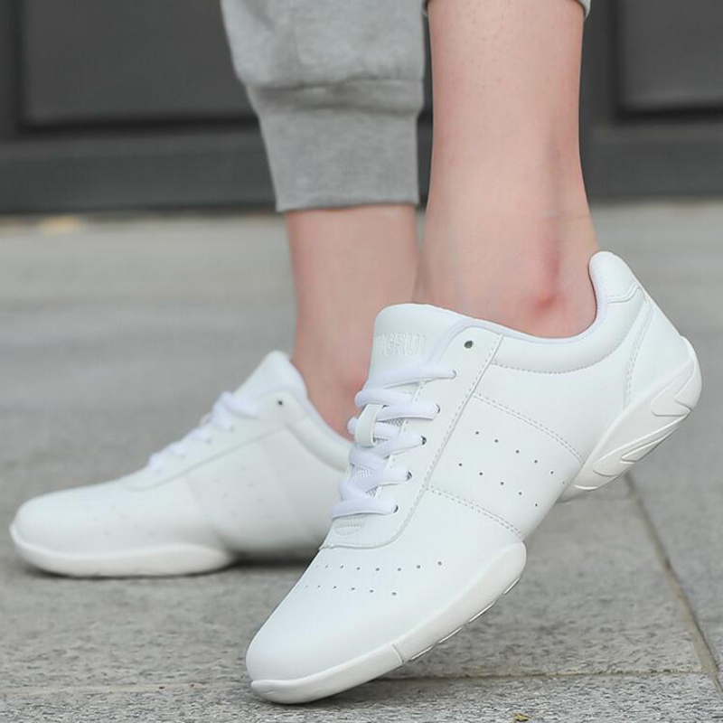 Adult Dance Sneakers Women's White Jazz/Square Dance Shoes Competitive Aerobics Shoes Fitness Gym Shoes Plus Size 33-45