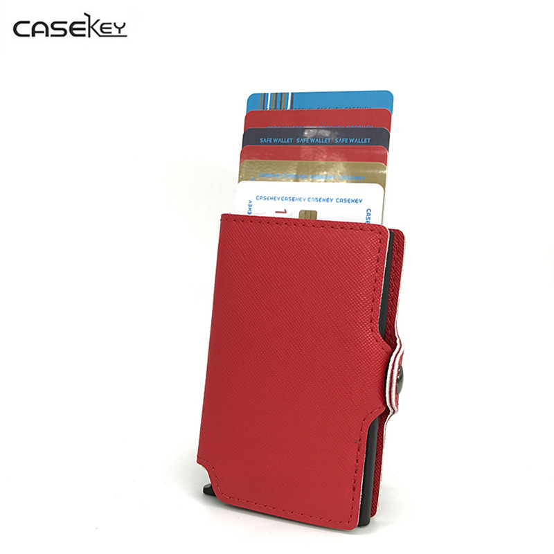 CaseKey New Credit Cards Holder Slim Protector Wallets Men Women PU Leather Metal Case ID Card Bag License Automatic Card Holder