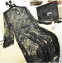 Slips Black Lace Petal Collar Medium Long Sexy Mujer Full Sleeve Women's Sexy Thin Embroidery Floral