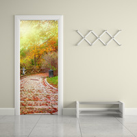 funlife Fall Leaves and Stone Road PVC Door Sticker Diy Imitation 3D Wall Decals Living Room Bathroom Water proof Wall Poster