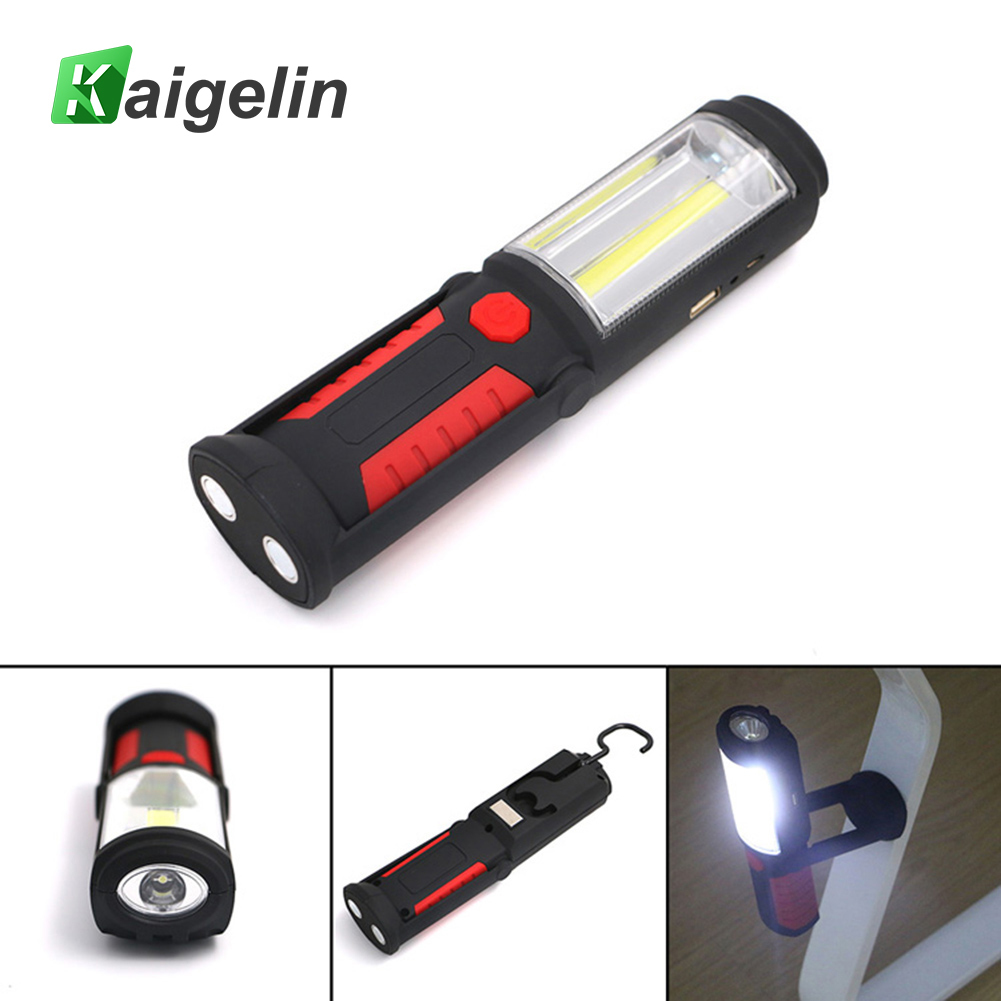 Kaigelin 2 Modes Portable COB LED USB Rechargeable Work Light Flashlight Magnet LED Hanging Hook For Car Repair Camping Lantern