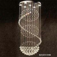 Modern Fashion LED Crystal Chandelier Spiral Staircase Pendant Lamp Stainless Steel Lighting Luster GU10 Light 110V
