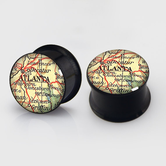 1 pair ATLANTA Map plugs anodized black ear plug gauges steel flesh tunnel body piercing jewelry 2 pieces