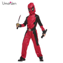 Umorden Purim Party Halloween Costumes for Boys Boy Masked Knight Hero Deadpool Costume Cosplay Jumpsuit Children Kids