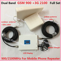 High Gain GSM 3G Booster Dual Band WCDMA 3G 2G GSM Cell Phone Signal Booster GSM 900 3G 2100Mhz Mobile Signal Repeater Amplifier