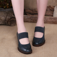 2015  Handmade Shoes Platform Women Chunky Heels Pumps High Heels Genuine Leather Retro Style