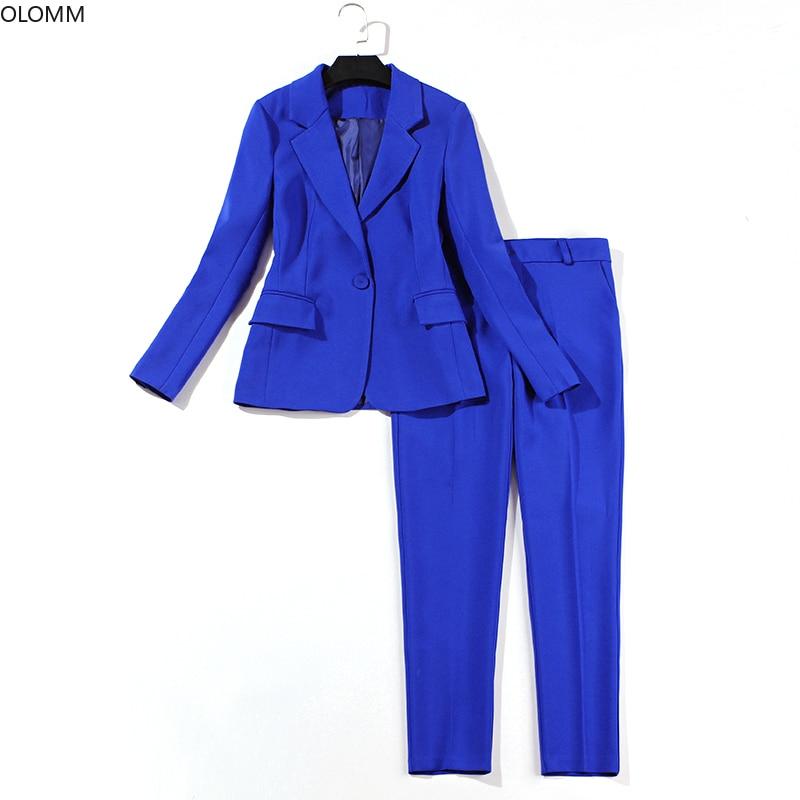 Suit Female 2019 Spring New Women's Solid Color Self-cultivation Professional Blue Suit Jacket Fashion Pants Interview Set